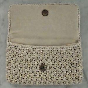 Handbags - Vtg. Ivory Macrame Crochet Faceted Beads Clutch